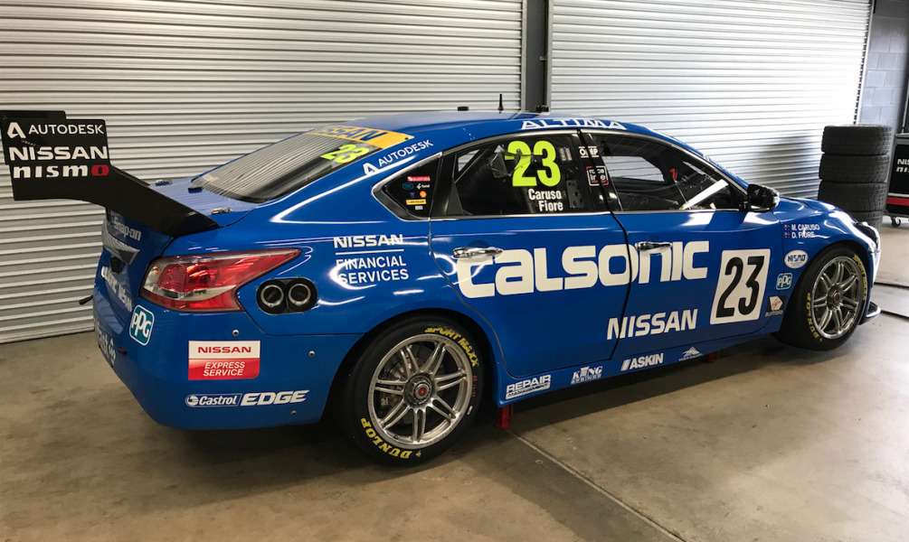 The new-look Calsonic Nissan took part in the test