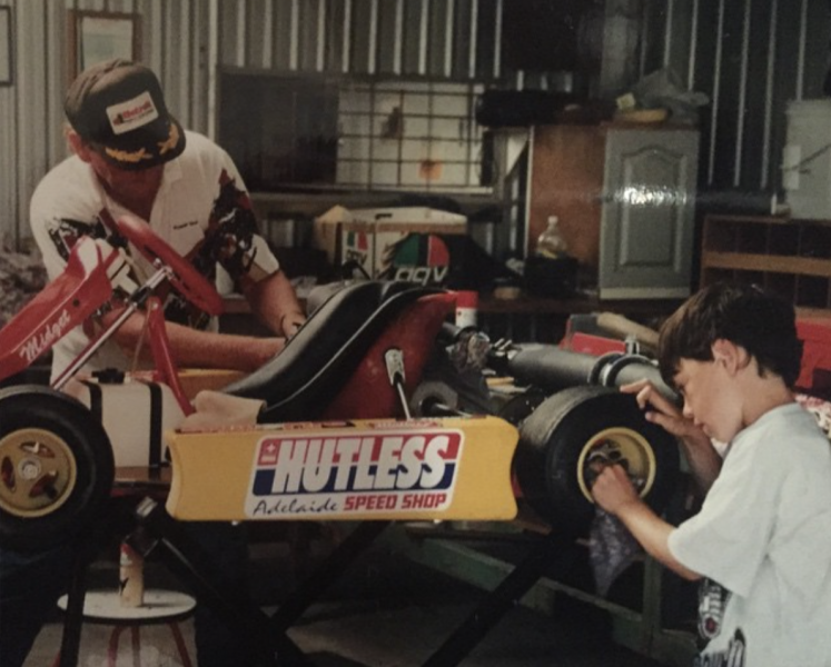 Pye and his father preparing a go-kart