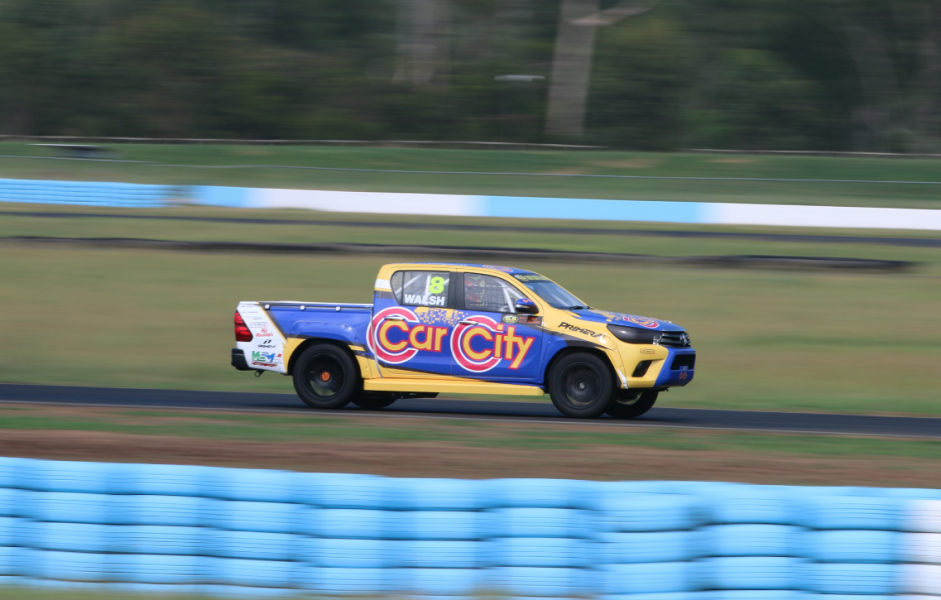 The Hilux on track